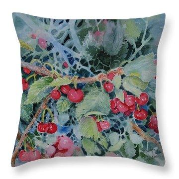Montana Cherries Throw Pillow