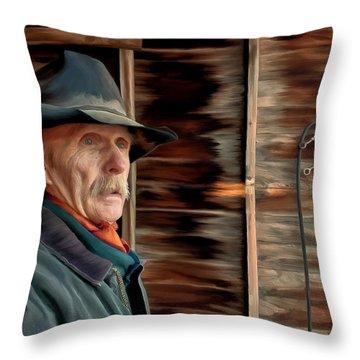 Montana Cowboy Throw Pillow by Michael Pickett