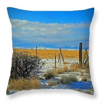 Montana Fencerow Throw Pillow by Desiree Paquette