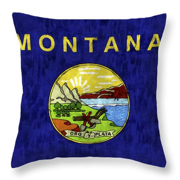 Montana Flag Throw Pillow by World Art Prints And Designs