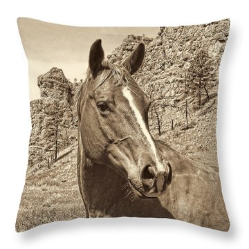 Montana Horse Portrait In Sepia Throw Pillow by Jennie Marie Schell