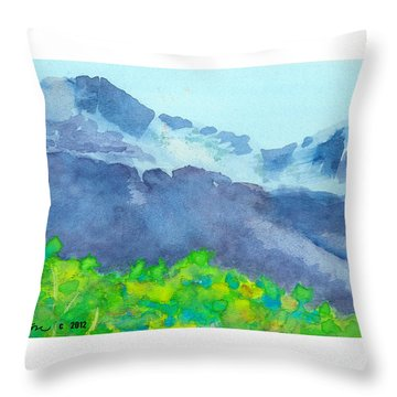 Throw Pillow featuring the painting Montana Mountain Mist by C Sitton