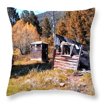 Montana Outhouse 01 Throw Pillow by Thomas Woolworth