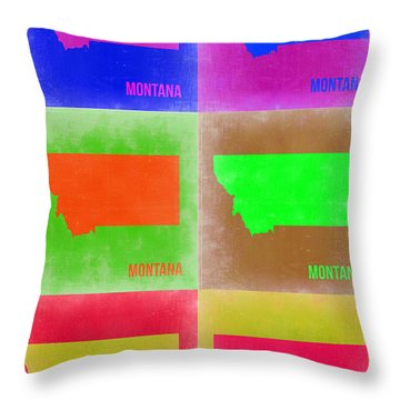 Montana Pop Art Map 2 Throw Pillow by Naxart Studio