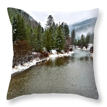Montana Winter Throw Pillow by Susan Kinney