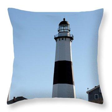 Montauk Lighthouse As Seen From The Beach Throw Pillow by John Telfer