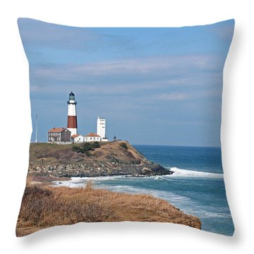 Throw Pillow featuring the photograph Montauk Lighthouse/camp Hero by Karen Silvestri
