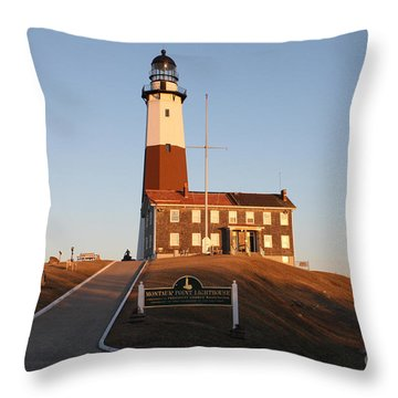 Montauk Lighthouse Entrance Throw Pillow