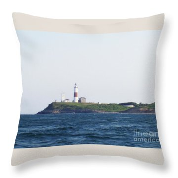 Montauk Lighthouse From The Atlantic Ocean Throw Pillow