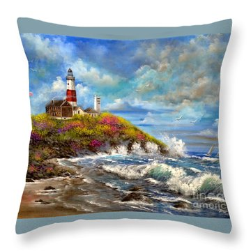 Montauk Lighthouse Throw Pillow by Patrice Torrillo