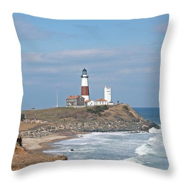 Montauk Lighthouse View From Camp Hero Throw Pillow