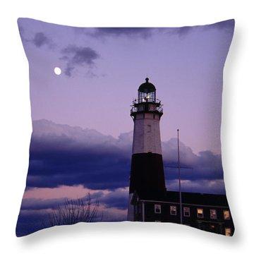 Montauk Lighthouse With Moon Throw Pillow