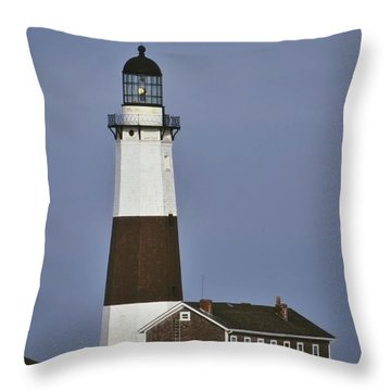 Throw Pillow featuring the photograph Montauk Lighthouse With Snow by Bradford Martin