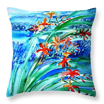 Montbretia On Inisheer  Throw Pillow by Trudi Doyle