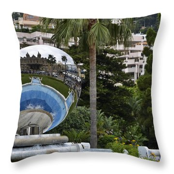 Throw Pillow featuring the photograph Monte Carlo Casino In Reflection by Allen Sheffield