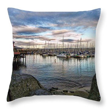 Monterey Marina California Throw Pillow