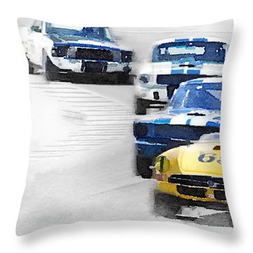 Monterey Racing Watercolor Throw Pillow