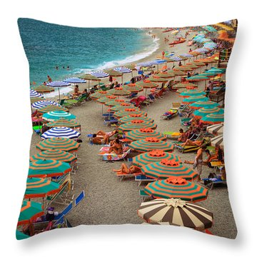 Monterosso Beach Throw Pillow by Inge Johnsson