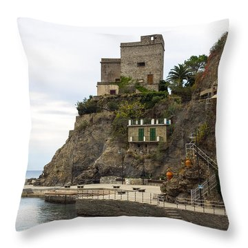 Monterosso Harbor Pier Throw Pillow
