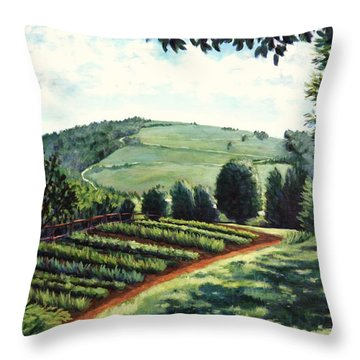 Throw Pillow featuring the painting Monticello Vegetable Garden by Penny Birch-Williams