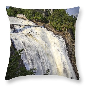 Montmorency Falls Park Quebec City Canada Throw Pillow by Edward Fielding