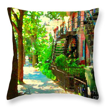 Montreal Art Colorful Winding Staircase Scenes Tree Lined Streets Of Verdun Art By Carole Spandau Throw Pillow by Carole Spandau