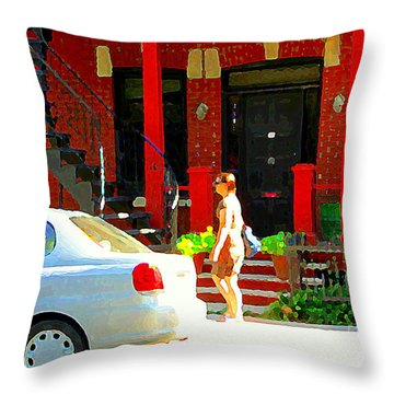 Montreal Art Summer Stroll On A Sunny Morning Colorful Street Verdun City Scene Carole Spandau Throw Pillow by Carole Spandau