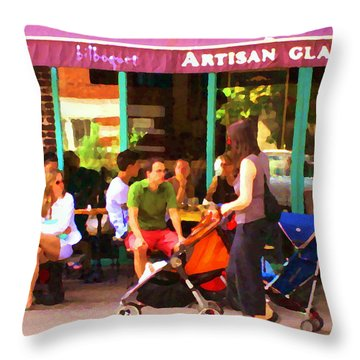 Montreal Art Work Bilboquet Cafe Scene Moms And Baby Carriages  In  Outremont By Carole Spandau Throw Pillow by Carole Spandau