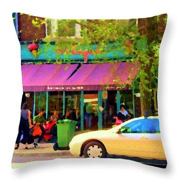 Montreal Cafe Scenes Beautiful Bilboquet On Bernard Creme Glacee Summer City Scene Carole Spandau  Throw Pillow by Carole Spandau