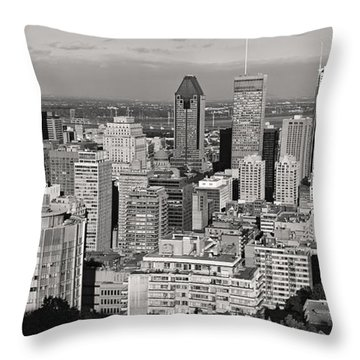 Montreal City Skyline In Black And White Throw Pillow