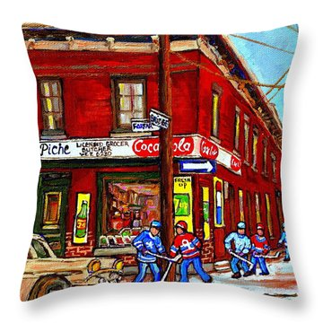 Montreal Depanneur Epicerie Boucherie Coca Cola South West Montreal Winter Pantings Hockey Art  Throw Pillow by Carole Spandau