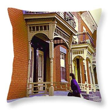 Montreal Memories Pretty Plateau Porches Lady Climbs Front Steps By Bricks Balconies Home Cspandau   Throw Pillow by Carole Spandau
