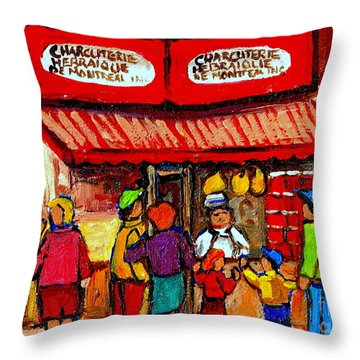 Montreal Memories Schwartz's Smoked Meat Nostalgic Vintage Scenes Heritage Landmark Classic Art Throw Pillow by Carole Spandau