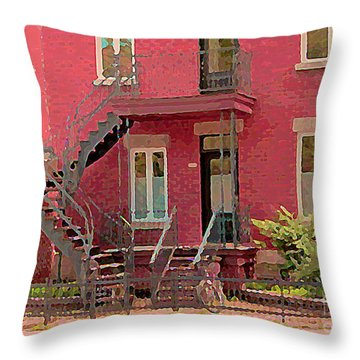 Montreal Memories The Old Neighborhood Timeless Triplex With Spiral Staircase City Scene C Spandau  Throw Pillow by Carole Spandau