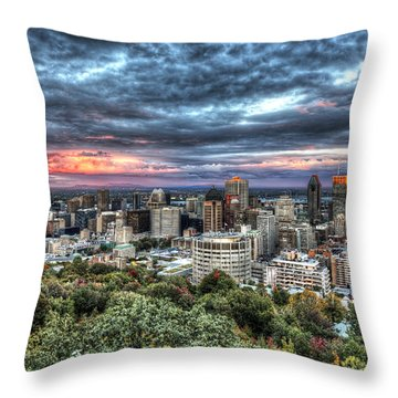 Montreal Skyline Sunset From Mount Royal Throw Pillow