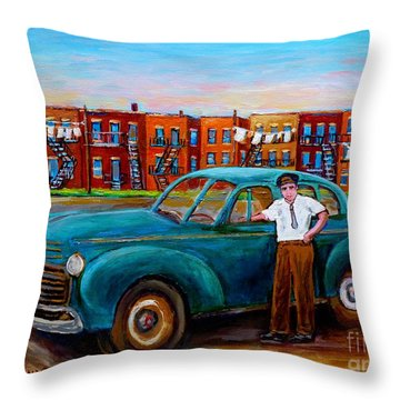 Montreal Taxi Driver 1940 Cab Vintage Car Montreal Memories Row Houses City Scenes Carole Spandau Throw Pillow by Carole Spandau