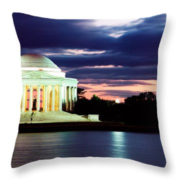 Monument Lit Up At Dusk, Jefferson Throw Pillow
