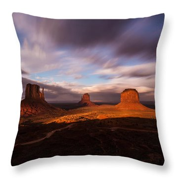 Monument Skys Throw Pillow by Tassanee Angiolillo