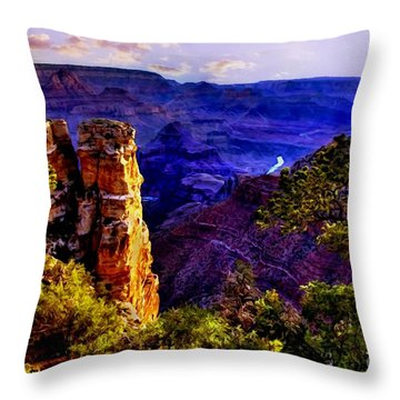 Monument To Grand Canyon  Throw Pillow by Bob and Nadine Johnston