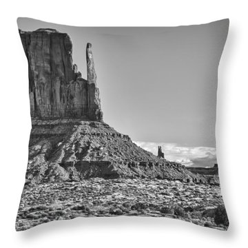 Throw Pillow featuring the photograph Monument Valley 3 Bw by Ron White