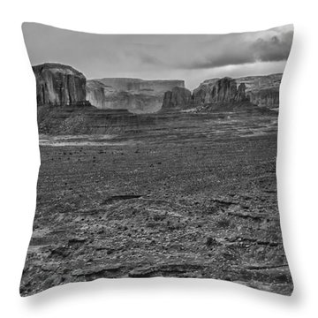 Throw Pillow featuring the photograph Monument Valley 4 Bw by Ron White