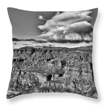 Throw Pillow featuring the photograph Monument Valley 5 Bw by Ron White