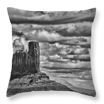 Throw Pillow featuring the photograph Monument Valley 6 Bw by Ron White