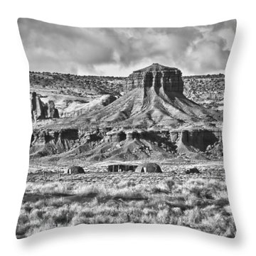 Throw Pillow featuring the photograph Monument Valley 7 Bw by Ron White