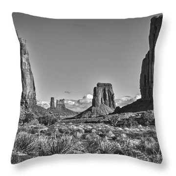 Throw Pillow featuring the photograph Monument Valley 8 Bw by Ron White