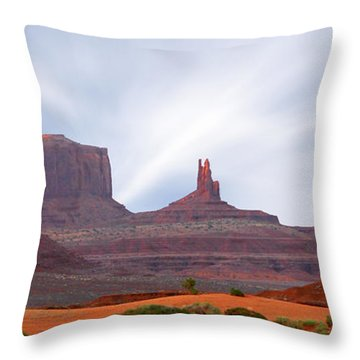 Monument Valley At Sunset Panoramic Throw Pillow by Mike McGlothlen