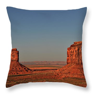 Monument Valley - East Mitten And Merrick Butte Throw Pillow by Christine Till