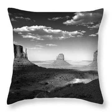 Monument Valley In Black And White Throw Pillow