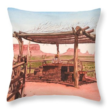 Monument Valley Overlook Throw Pillow by Mike Robles