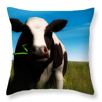 Throw Pillow featuring the digital art Moo... by Tim Fillingim
